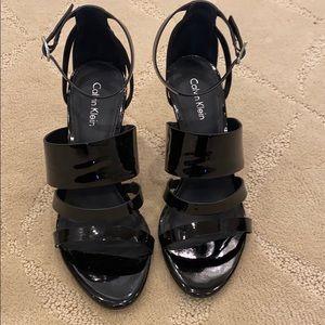 Calvin Klein Mayra heels in black patent size 6.5